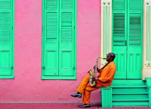 Saxophonist Playing Outside Building in the French Quarter
